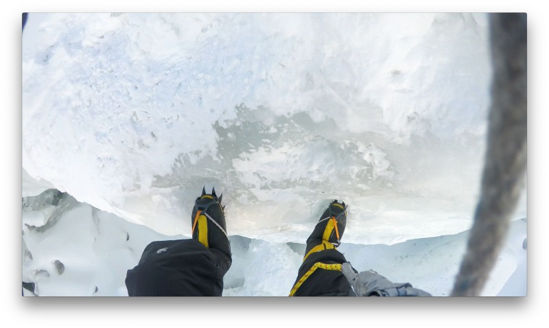 Friction-rapping some near-vertical ice.  Nice.   (GoPro Screenshot)