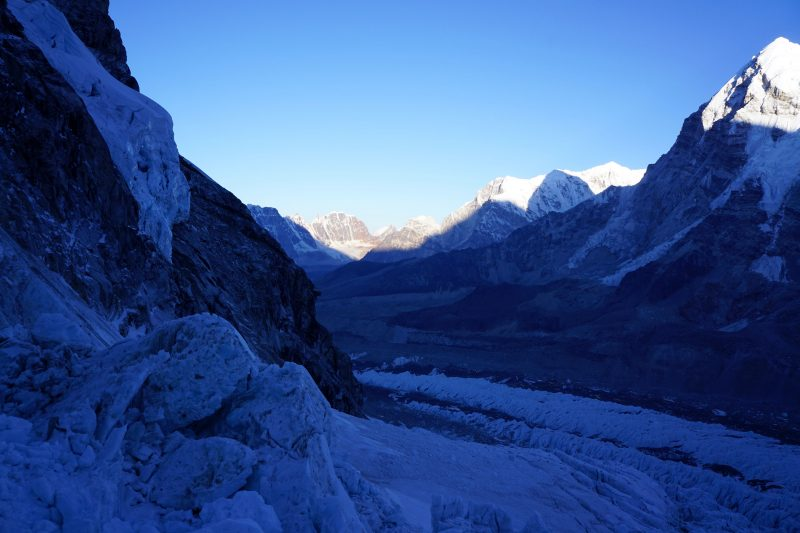 Looking down the Khumbu from the lip of the Pit.
