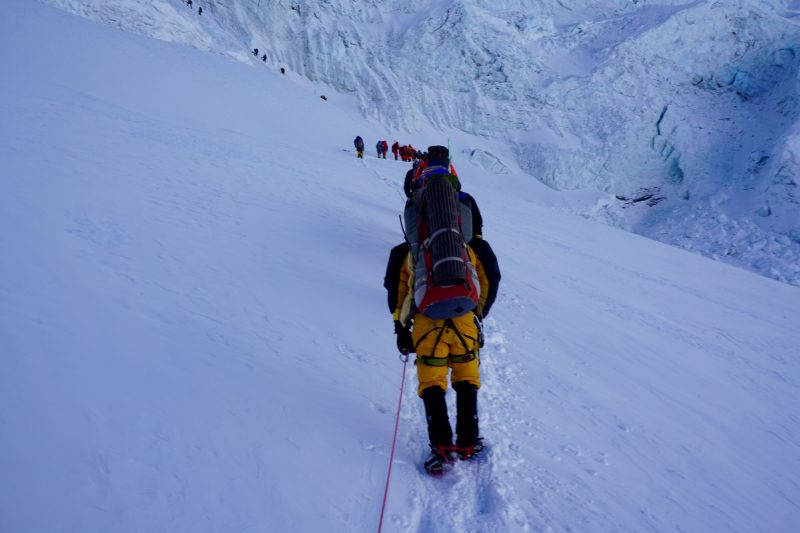 Heading towards the 'schrund, a notorious choke-point in the route, and just about the only section of the day with any true objective hazard (potential collapse of the top wall).