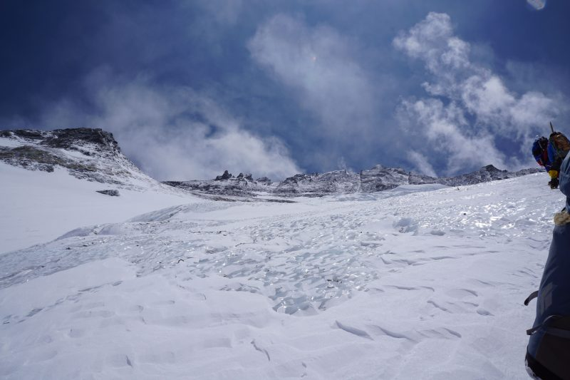 Looking up at the Face from one of many ice bulges. Camp 3 is obscured from view by terrain features.