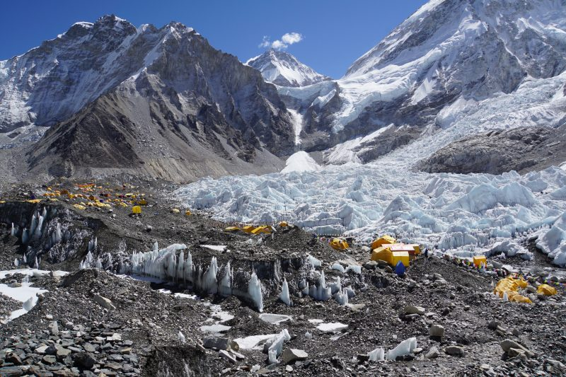Looking a bit to the right, including the Khumbu glacier and icefall.