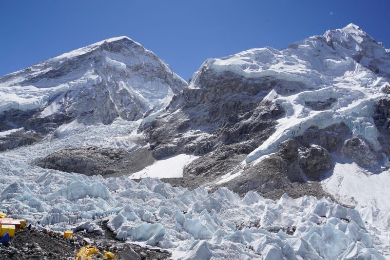 Everest West shoulder on left, Nuptse on right, separated by the icefall.