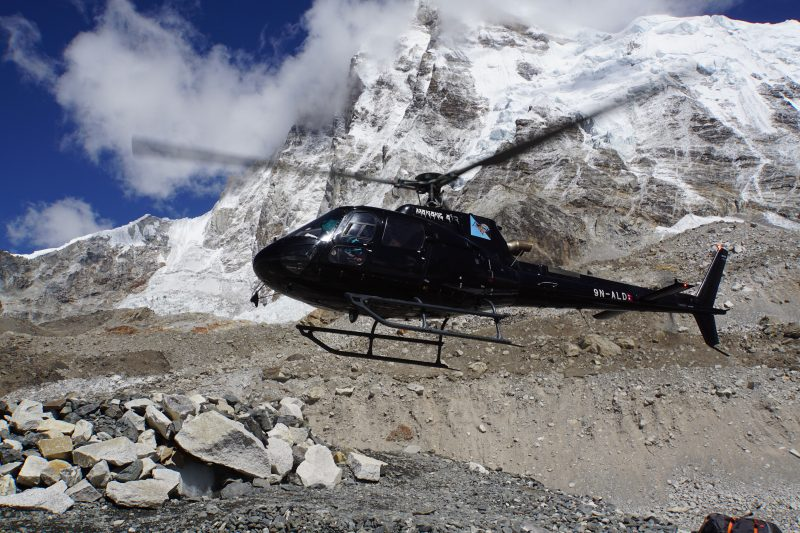 A bird from Manang Airlines arrives to take our friends from another team down to Namche, too.