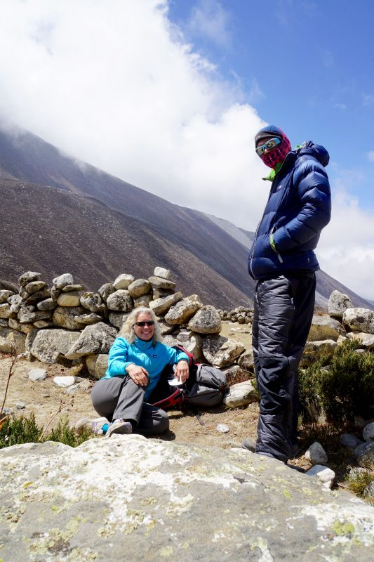 Emily and Siva await the next flight from Dingboche.