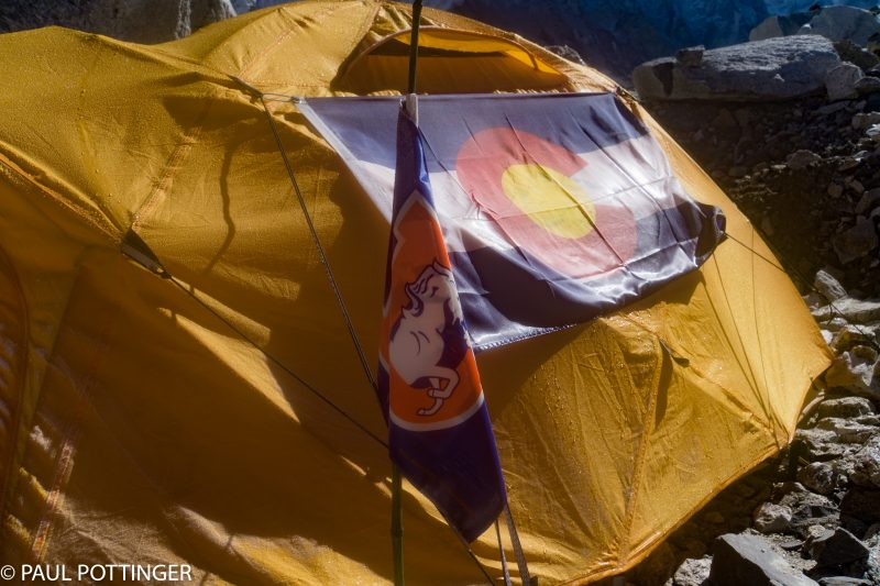 Kim's tent livery is highly Colorado-centric.