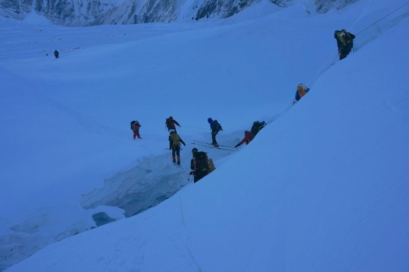 An unusual double-independent ladder crevasse crossing below a roller above Camp 1. (Photo: Justin merle)