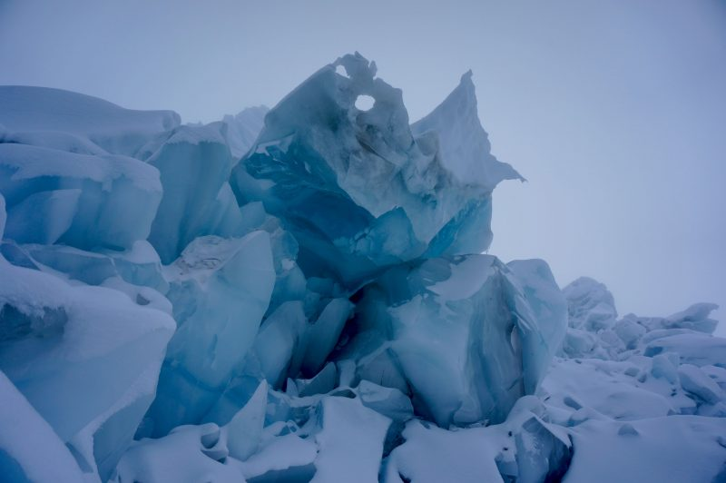 Avvy debris compressed over years into solid, bubble-free ice. (Photo: Justin merle)