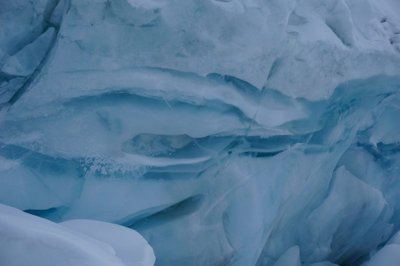 Striations in ice. (Photo: Justin Merle)