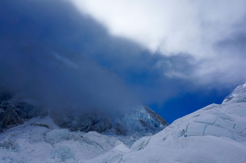 Cloud and Clear skies battle for dominance above the icefall. (Photo: Justin merle)