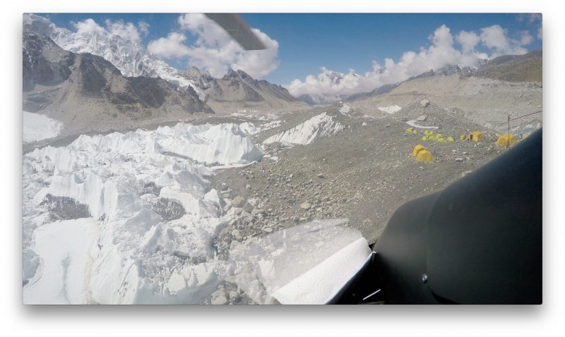 Looking down the glacier as we scoot a short distance overhead. (GoPro Screenshot)