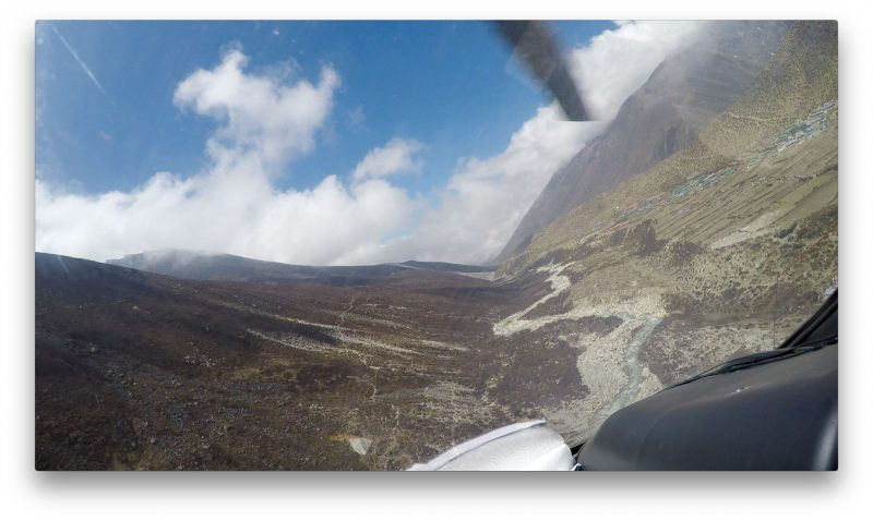 Nice approach to the stone helipad in Dingboche. (GoPro Screenshot)