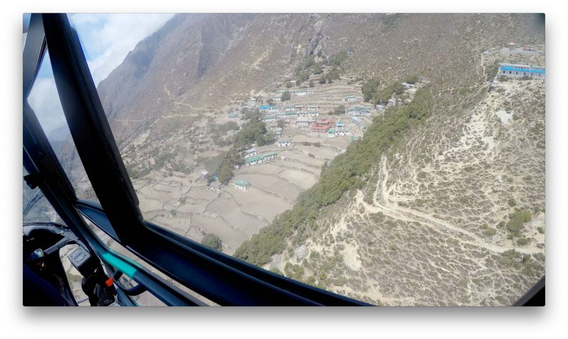 The lovely, green town of Pangboche, home of Lama Geshi. (GoPro Screenshot)