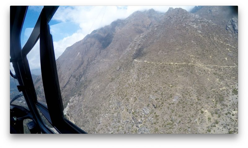 The trail from Pangboche up to Phortse.... high, rugged, and painful when we took it home last year. (GoPro Screenshot)
