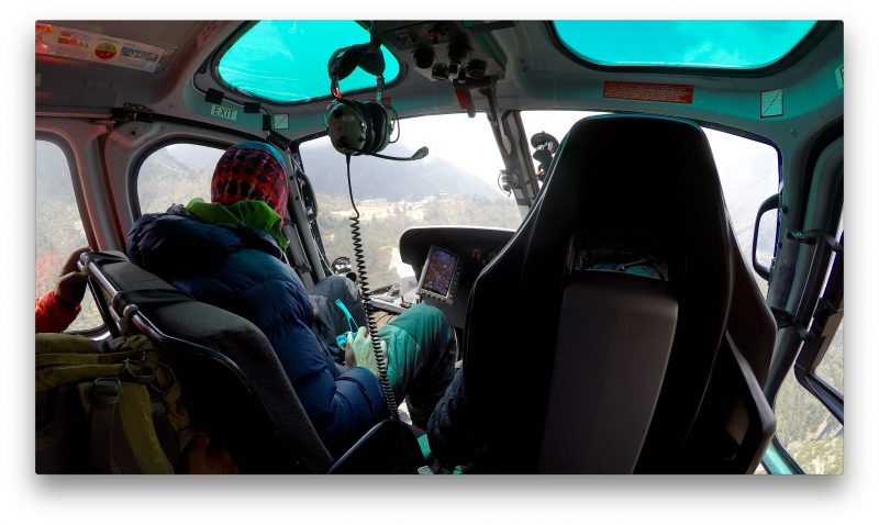 Tengboche comes into view on the left side of the chopper. (GoPro Screenshot)