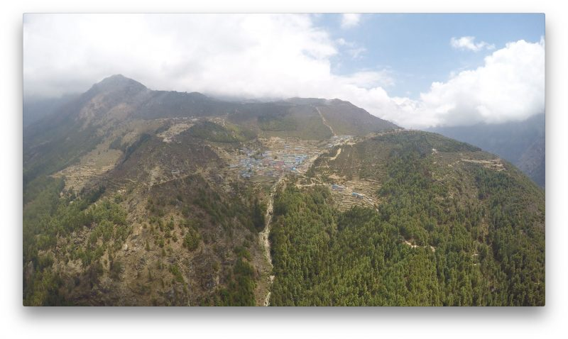 Namche Bazaar comes into view. Sweet. (GoPro Screenshot)