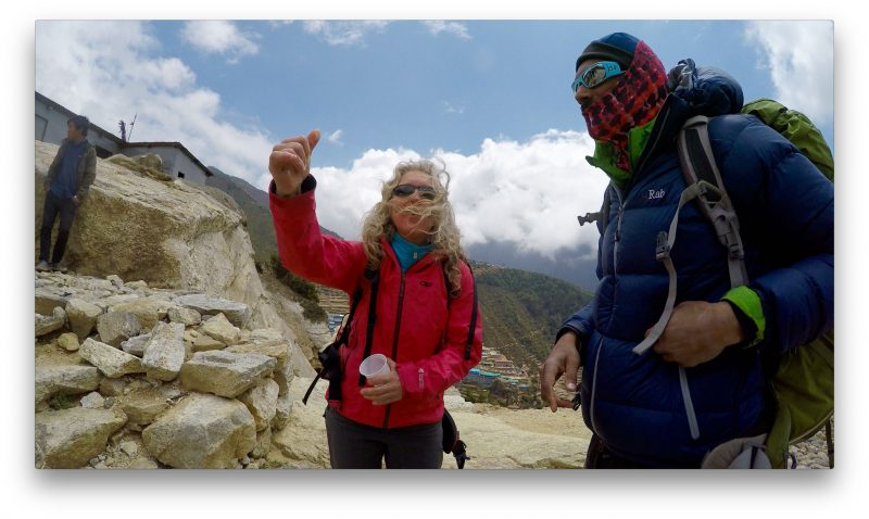 Emily guides Siva and me to a world of delights in Namche.... (GoPro Screenshot)
