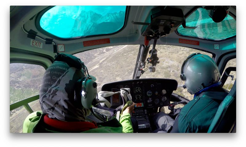 A righteous hairpin turn puts us on final approach to Phortse. Ama Dablam in the left skylight. Total flying time from Namche: 6 minutes. (GoPro Screenshot)