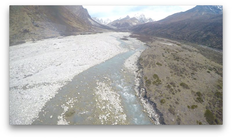 The Imja Khola, the river that runs through Phortse. Lobuche in the distance at the top of the valley. (GoPro Screenshot)