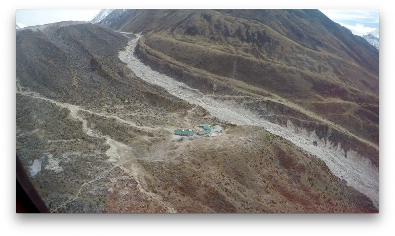 The hamlet of Dukla, where the Khumbu Valley makes a dogleg to the right. (GoPro Screenshot)