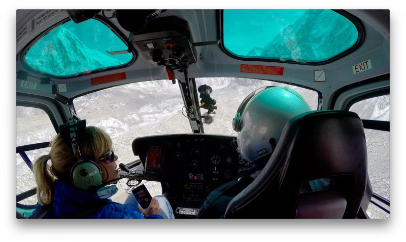 Approaching the Khumbu Glacier proper. Pumori in the left skylight. (GoPro Screenshot)