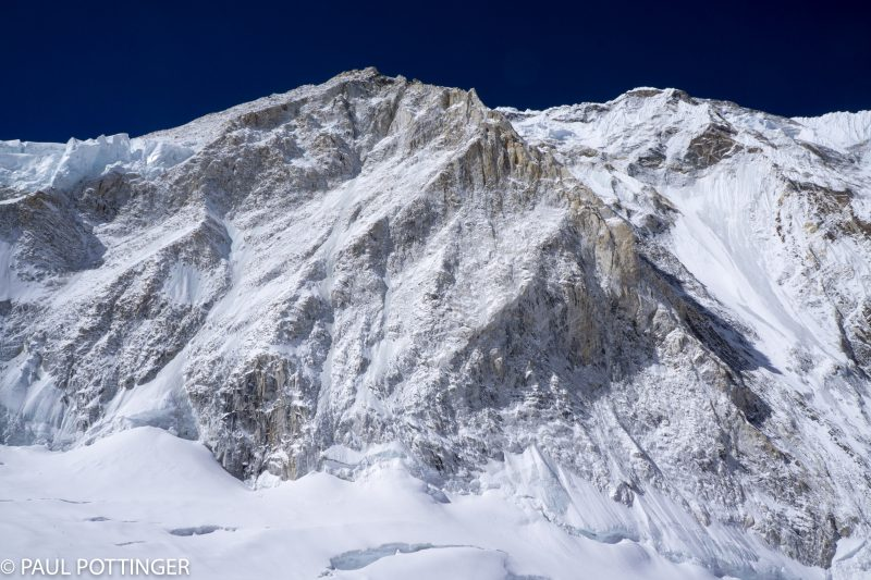 The fearsome wall of Nuptse as we approach Camp 2, on the opposite side of the Cwm. Those seracs on the top left look a bit dodgy....