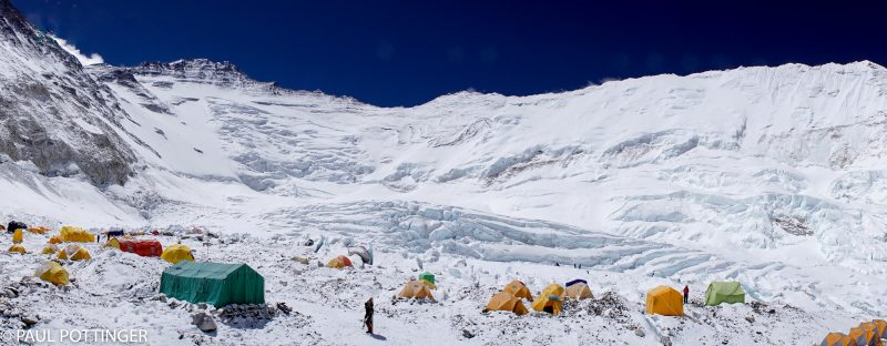 Panorama of Camp 2, looking up the Cwm towards Lhotse.