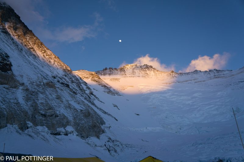 Our last look at Lhotse, under an almost-full moon, from Camp 2. Several hours later we set out for Camp 3.