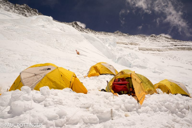 Tents of the upper and uppermost tiers at Camp 3.
