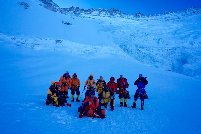 At our first break of the day, just below the 'schrund. Raring to go. (Photo: Justin Merle)