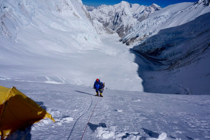 Ramin and Siva approach the break at Lower Camp 3. (Photo: Justin Merle)