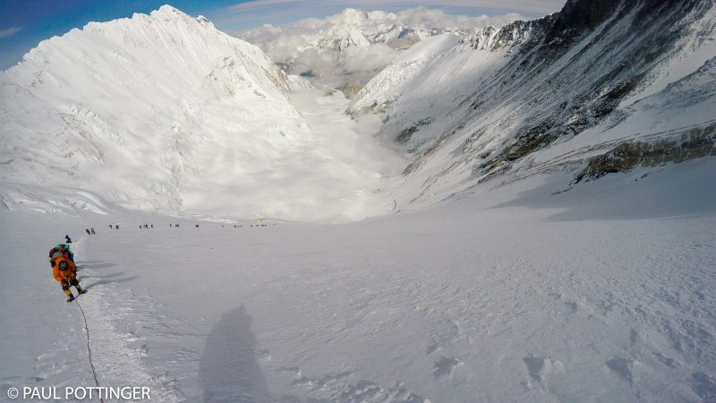 Looking back as the column makes progress up the Lhotse Face, and turns the dogleg towards the Yellow Band. (GoPro Screenshot)