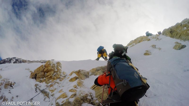 Partway up the cliff. Ice, snow, and rock at 24,800 feet. Nice. (GoPro Screenshot)