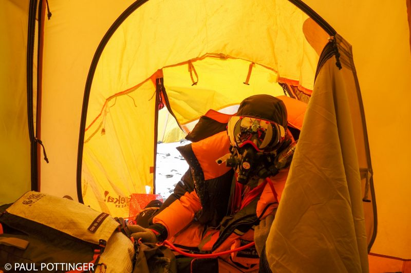 Me, entering our tent at the South Col. (Photo: Steven Hess)