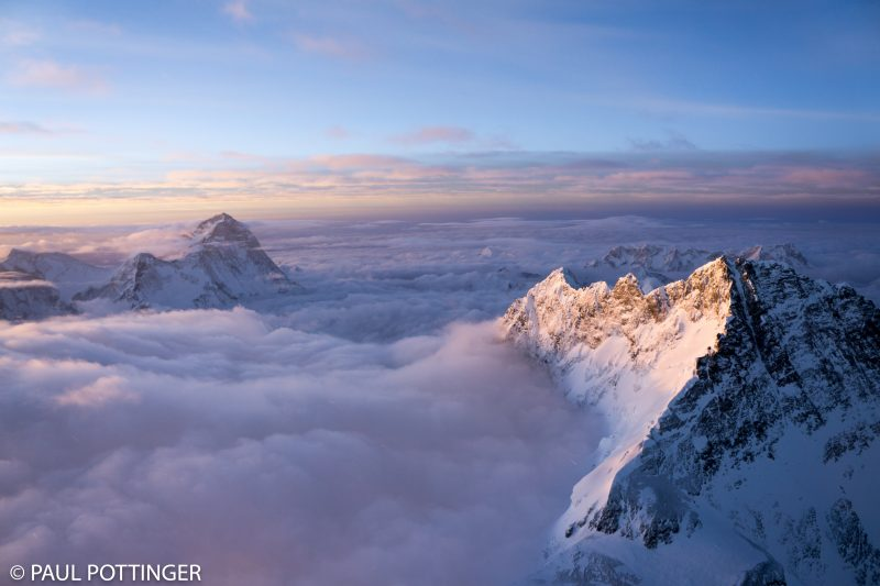 Makalu and Lhotse rise above the cloud sea.