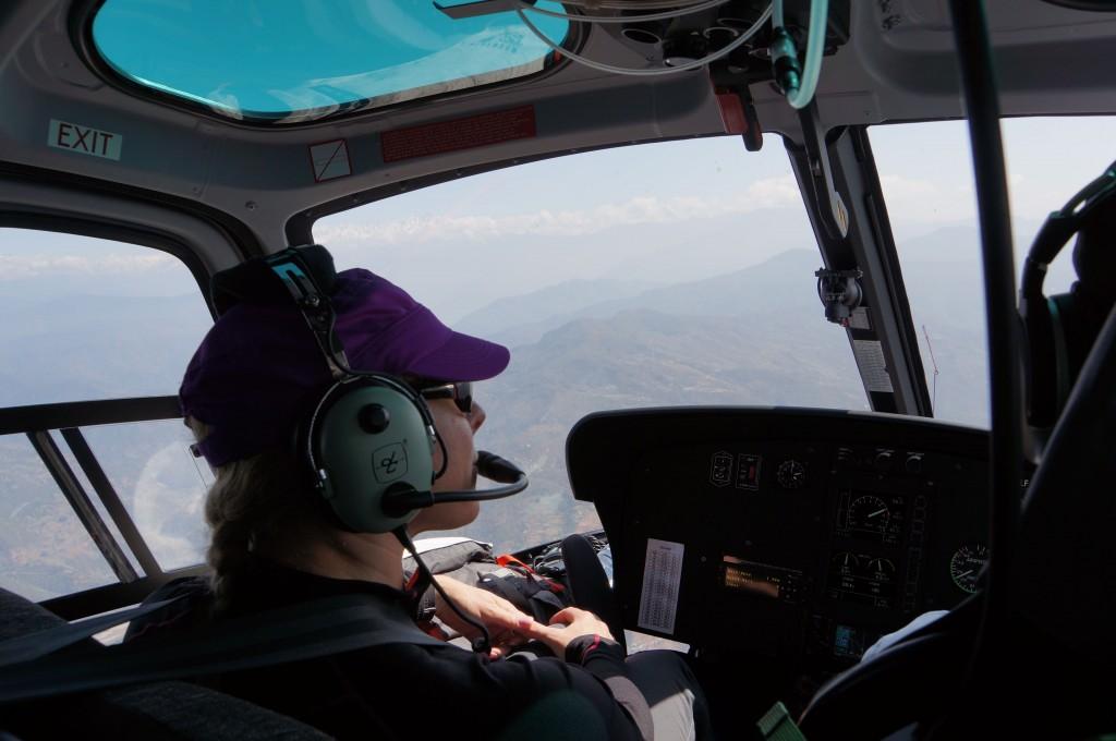 Close quarters in the chopper, but great views.