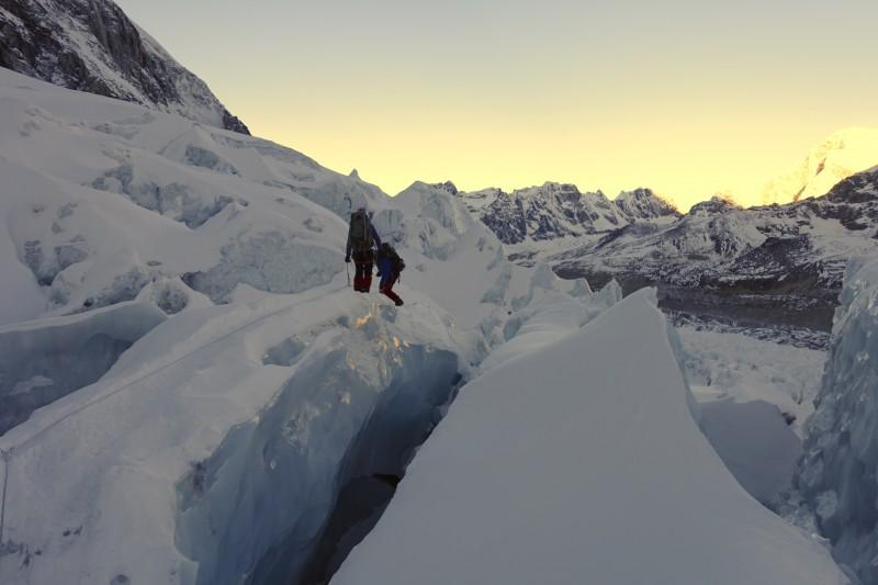 Kim makes progress on a thin sliver of ice.  (Photo: Blake Penson)