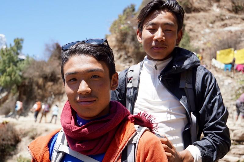 Sherpa Fura and Tshering Paldourche just below Namche.
