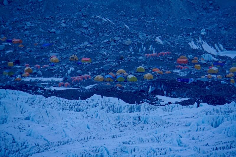 A random part of EBC seen in telephoto, across the glacier.