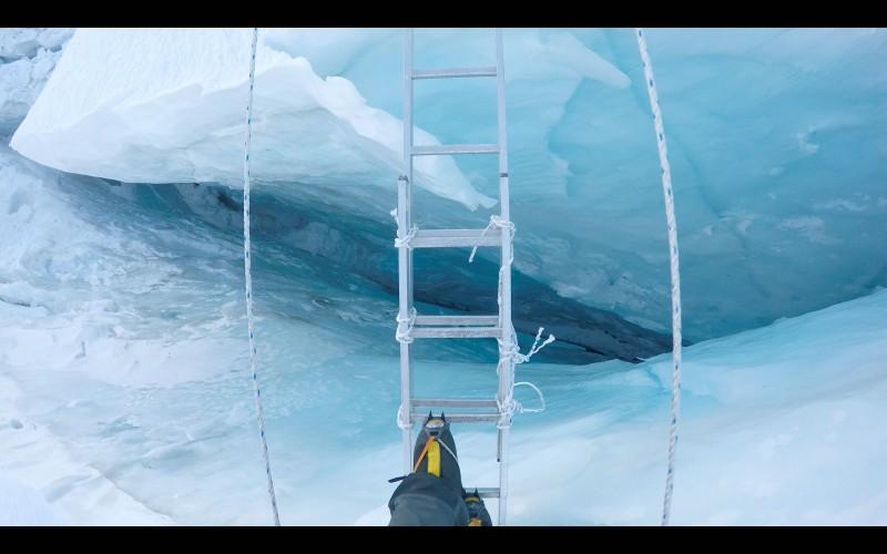 Most crevasses are under 100 feet deep. (GoPro screenshot)