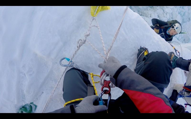 Bob tops out as I rig my figure-8. (GoPro screenshot)