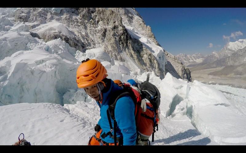 Eddie atop the ridge overlooking the Pit. (GoPro screenshot)