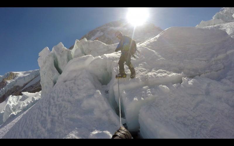 Ang Pemba descending the icefall. (GoPro screenshot)