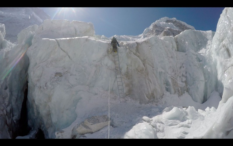 Ang Pemba on the same ladder. (GoPro screenshot)