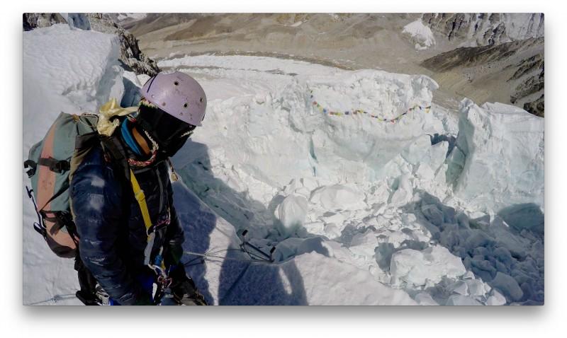Ang Pemba surveys the Pit of Despair. Only way down is via ladder.... (GoPro Screenshot)
